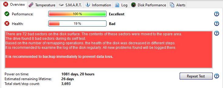 hard disk sentinel 19% health